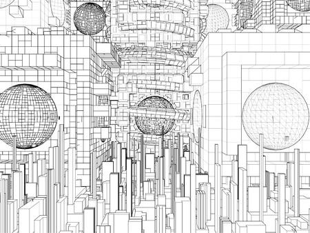 megalopolis: Futuristic Megalopolis City Structure Vector Illustration