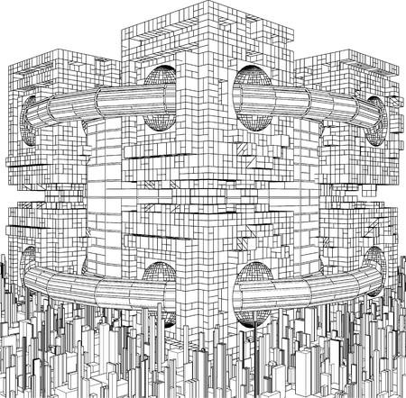 Futurista Megalópolis Ciudad Estructura vectorial