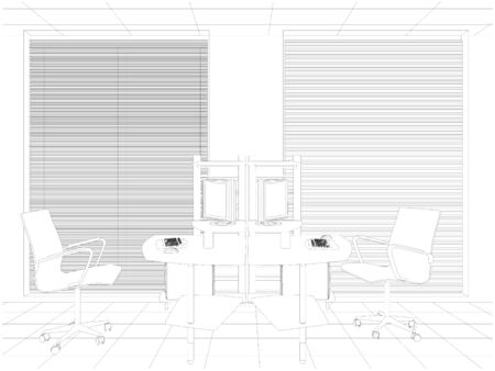 working place: Interior Office Working Place Vector