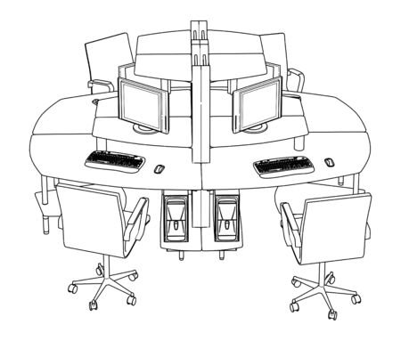 ergonomic: Interior Office Working Place Vector