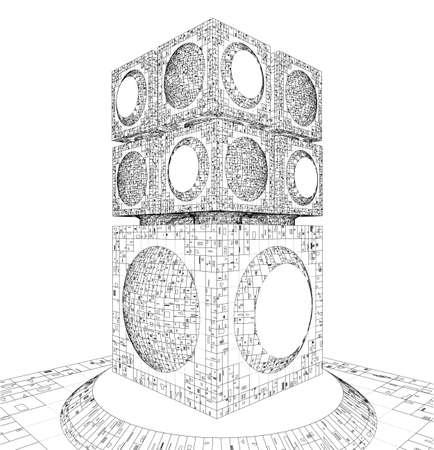 megalopolis: Futuristic Megalopolis City Skyscraper Structure Stock Photo