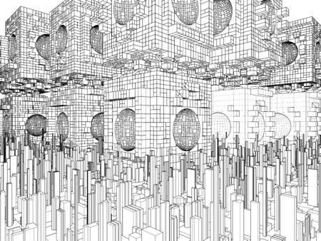 megalopolis: Futuristic Megalopolis City Structure Stock Photo