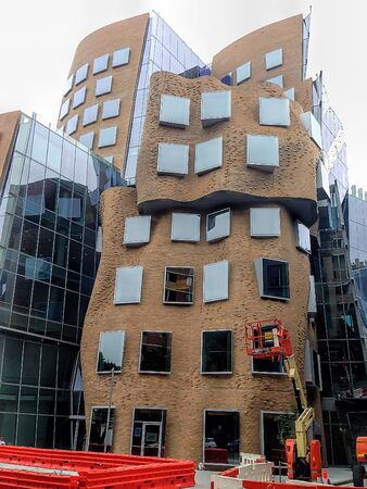 wonky: SYDNEY, NSW, AUSTRALIA - January 10, 2015: The unusual curves and elements of the University of Technology Sydney building is one of Sydney greenest education buildings, with a 5 Star Green Star Education Design v1 rating.
