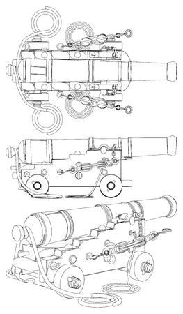 cast iron: Ancient Ship Artillery Gun XVII - XIX-th Century Vector Illustration