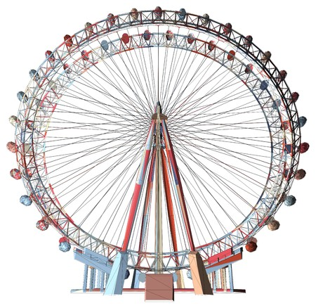 ferris wheel: Colorful Double Carousel Vector