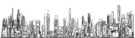 paisaje: Futurista Megalópolis ciudad de los rascacielos vector. Paisaje Vista.