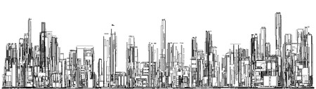 panoramic view: Futuristic Megalopolis City Of Skyscrapers Vector. Landscape View.
