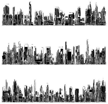Futurista Megalópolis ciudad de los rascacielos vector. Paisaje Vista.
