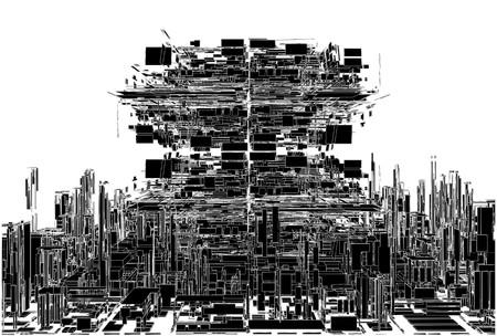 megalopolis: Futuristic Megalopolis City Of Skyscrapers Vector. Landscape View.
