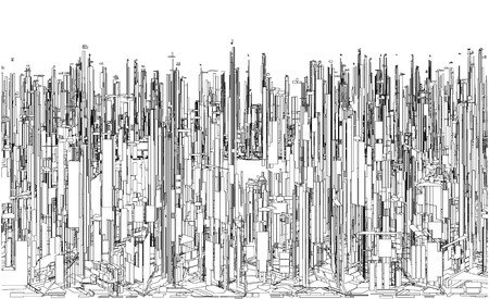 viewpoint: Futuristic Megalopolis City Of Skyscrapers Vector. Landscape View.