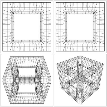 cube box: Geometric Sliced Cube Box Vector