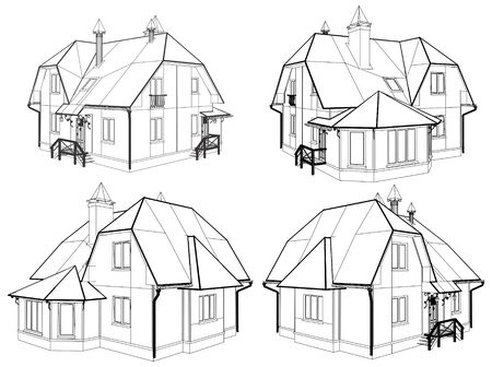 architectural styles: Family House Pespective Vector