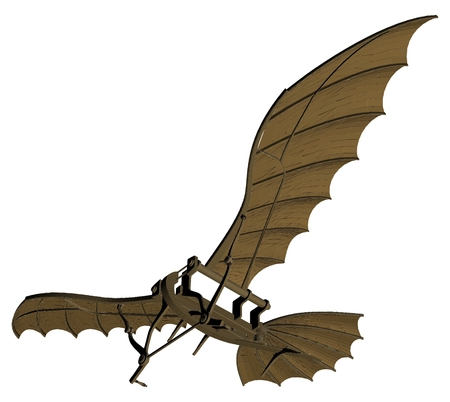 Flying Machine Based On The Leonardo da Vinci Antique Light Hang Glider Vector