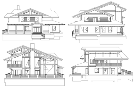 front of house: Family House Pespective Vector