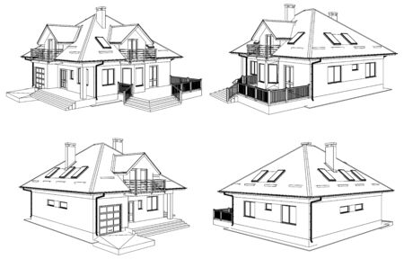 house drawing: Family House Perspective Vector