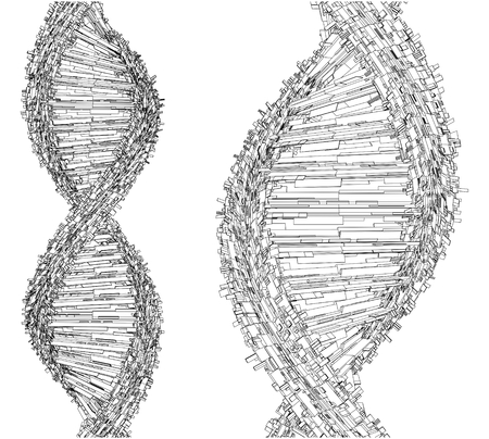medical exam: DNA Chain Made With Cubes And Boxes Vector