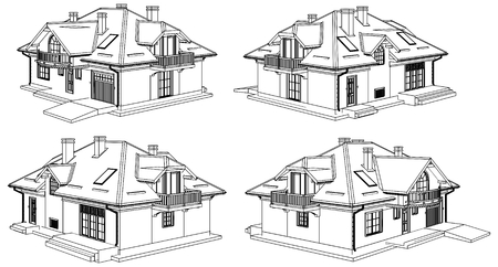 perspektiv: Family House Perspective Vector