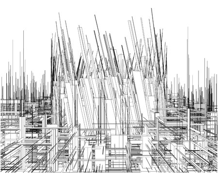 viewpoint: Futuristic Megalopolis City Of Skyscrapers Vector