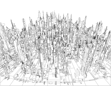 aerial view: Futuristic Megalopolis City Of Skyscrapers Vector