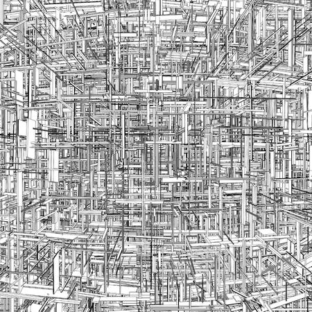 Futurista Megalópolis ciudad de los rascacielos Vector Ilustración de vector