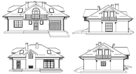 perspective: Family House Perspective Vector