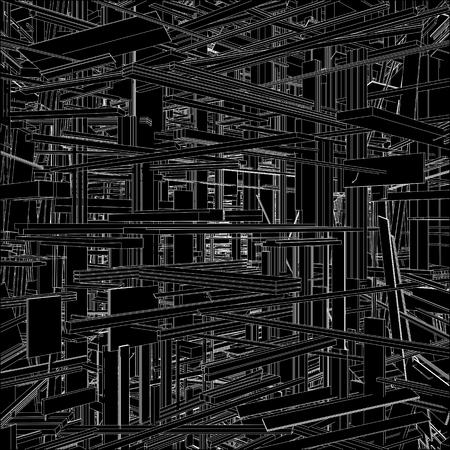 Futurista Megalópolis ciudad de los rascacielos Vector