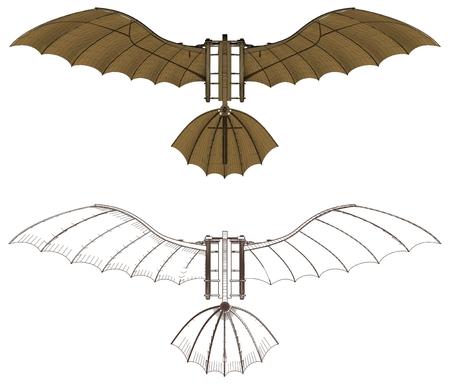 prototipo: Leonardo Da Vinci antigua máquina de vuelo del vector Vectores