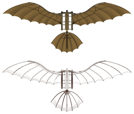 machines: Leonardo Da Vinci Antique Flying Machine Vector Illustration