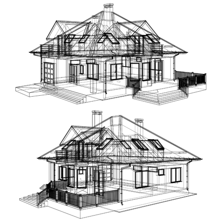 line vector: Family House Pespective With Hidden Line Vector