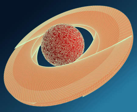 saturn rings: Saturn Abstract Wire Frame Surface Planet Vector Illustration