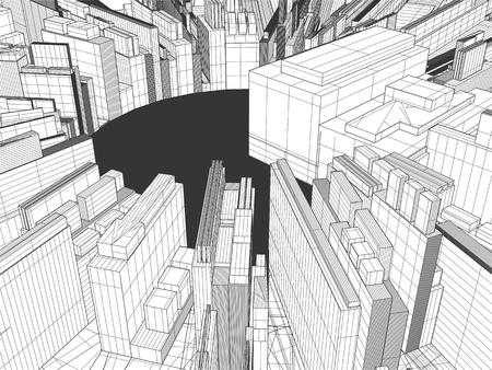 urban city: Urban City Of Skyscrapers Vector