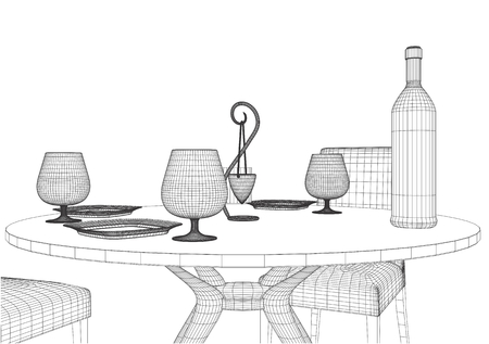 table and chairs: Set Table And Chairs Vector Illustration