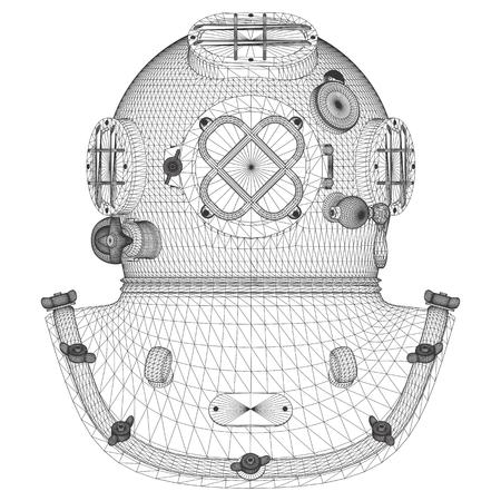 01: Vintage Diving Helmet Vector 01