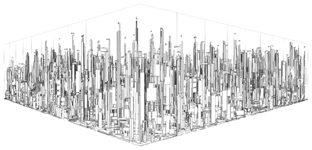 viewpoints: Futuristic Megalopolis City Of Skyscrapers Vector. Landscape View.