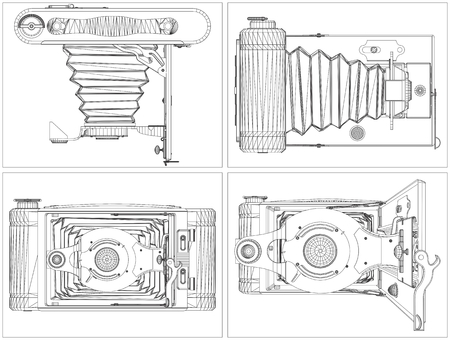 bellow: Old Photographic Camera Vector Illustration