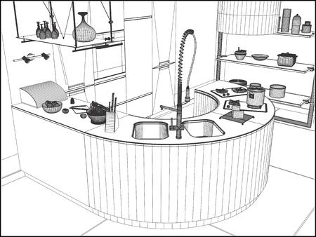 modern kitchen: Modern Kitchen Vector