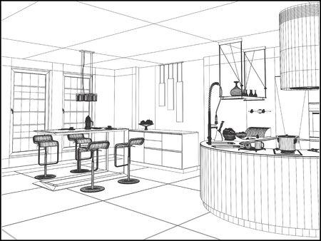 room: Modern Dining Room Vector