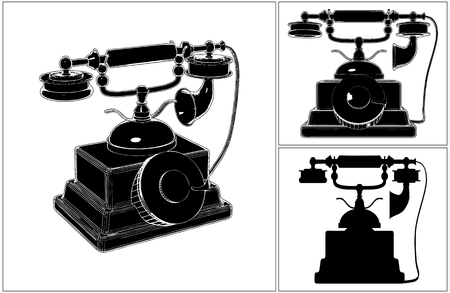 call history: Retro Phone Isolated On White Vector Illustration