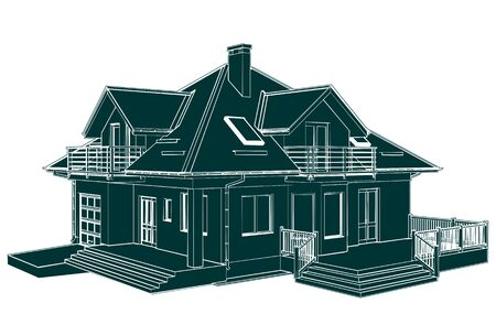 construction projects: Family House Perspective Vector