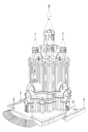 Church Perspective View Vector