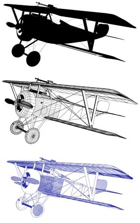 Antique Vintage Military Biplane Vector Illustration