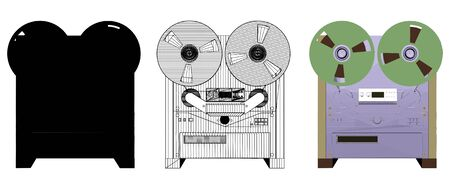 Analog Tape Recorder Vector. Analog Stereo Open Reel Tape Deck Recorder with large reels