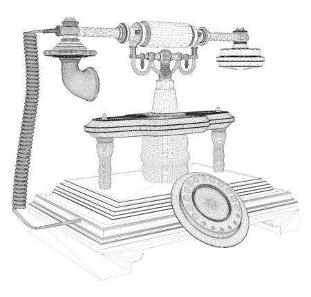antiquated: Retro Phone Isolated On White Vector Illustration