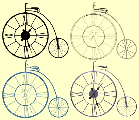 Decorative A Clock Penny-Farthing Bicycle Vector Illustration