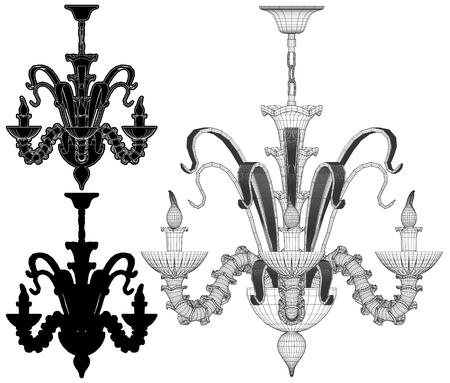 Set of chandelier illustration