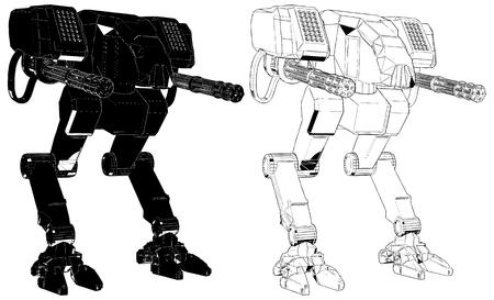 전투 전투 로봇 벡터 일러스트