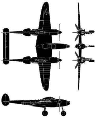 軍用プロペラ飛行機ベクトル