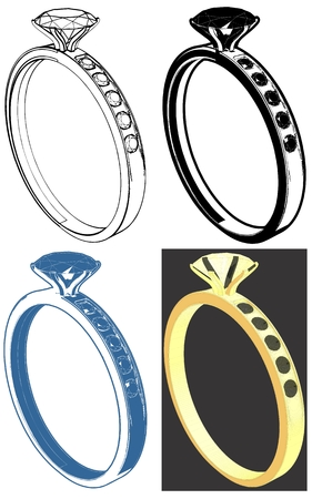 Ring With Diamond Vector set