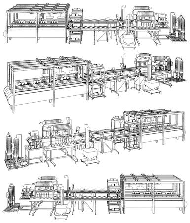 Conveyor Production Line Vector. Conveyor Process Production Industrial Construction Equipment.