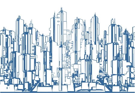 Futuristic Megalopolis City Of Skyscrapers Vector Landscape View
